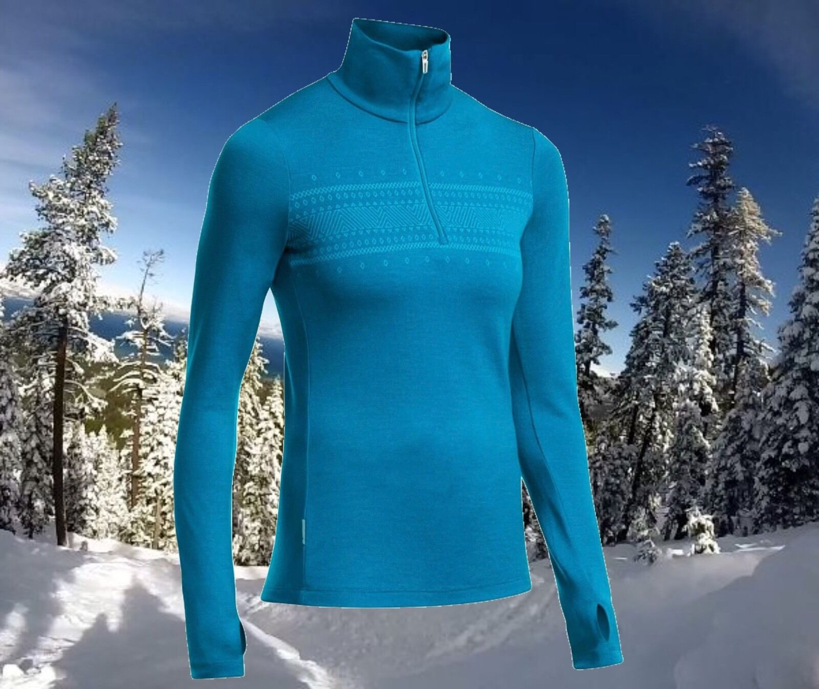 Icebreaker Womens XS Thermal Merino Wool 1 2 Zip Tech Sports Ski Top Nwt