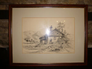 SIGNED-PENCIL-DRAWING-Vallee-de-le-Menoge-Cottage-amp-Church-1904-Veduta-ART