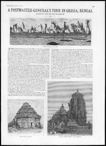 1887-Antique-Print-INDIA-Bengal-Orissa-Black-Pagoda-Sivaite-Temple-203
