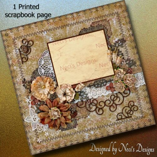 Browns /& Flowers Vintage Themed Scrapbook Page with Tans Handcrafted art