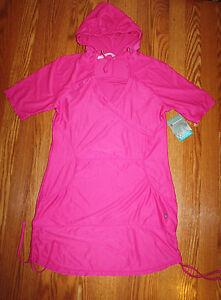 80ca70566ef NWT Womens FREE COUNTRY Fuchsia Hooded V-Neck Mesh Swim Cover Up Sz ...