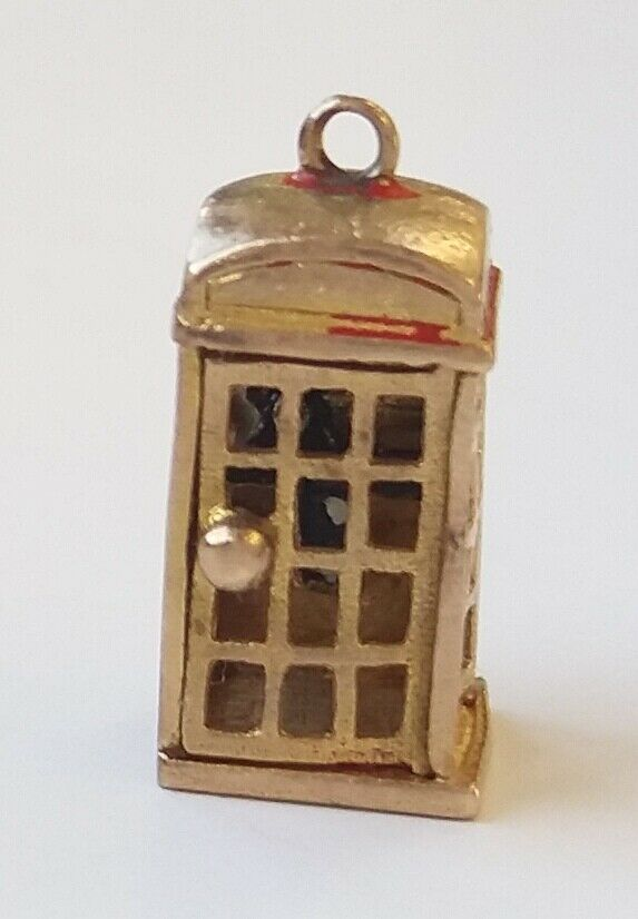 Vintage 9ct gold Charm Telephone Box 1940's Good Condition