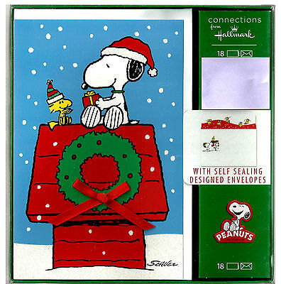 Snoopy Christmas Cards.Hallmark Peanuts Snoopy Christmas Cards Box Set Of 18 Designer Envelopes New 2 Ebay