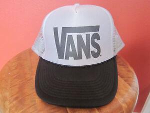 VANS CLASSIC   Vintage TRUCKER HAT CAP Gray mesh SNAPBACK Sweatband ... db5616bc7ee