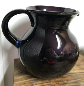 Hand-blown-Large-Purple-Sangria-Pitcher-Made-In-Mexico-Applied-Blue-Handle