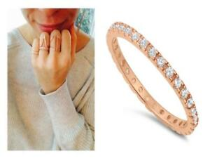 925-Silver-Rose-Gold-2-mm-Round-CZ-Eternity-Stackable-Wedding-Ring-Band-Size-9