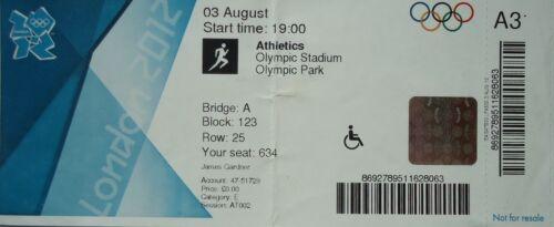 Eintrittskarte Olympia 3.8.2012 Olympic Stadium Leichtathletik Athletics A31
