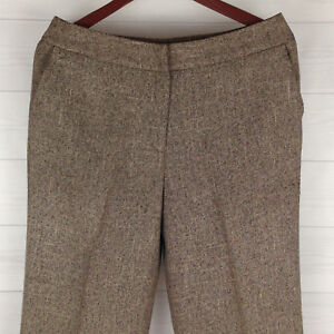 Dressbarn-Womens-Size-10-Knit-Beige-Brown-Fully-Lined-Cuffed-Dress-Career-Pants
