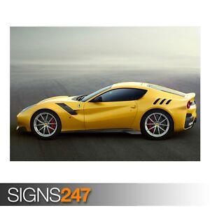YELLOW-FERRARI-F12-SPORTS-CAR-AD739-CAR-POSTER-Poster-Print-Art-A0-A1-A2-A3