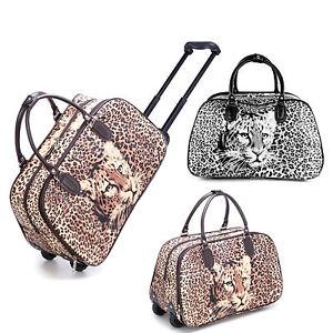 Ladies-Leopard-Print-Holdall-Trolley-Weekend-Bag-Hand-Luggage-Travel-Handbag