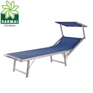 Lettino prendisole sdraio alluminio piscina mare spiaggia giardino con parasole ebay - Lettino piscina alluminio ...