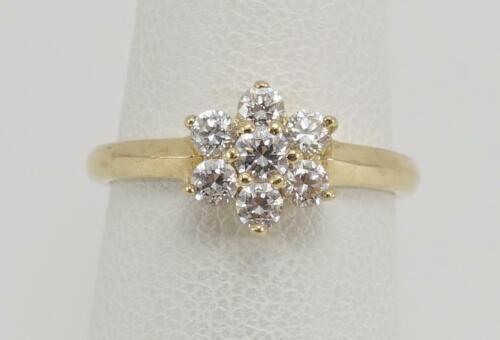 Estate 14K Solid Yellow Gold Cubic Zirconia Pendant Vintage Pear Cut Solitaire Signed DQ Diamonique April Birthstone Wedding