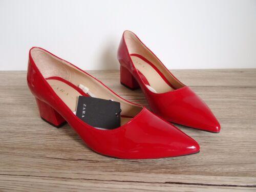 corte Eu 36 medio 6 Scarpe vernice rossa 3 con in taglia Uk Usa tacco corte Zara rdCthsQ