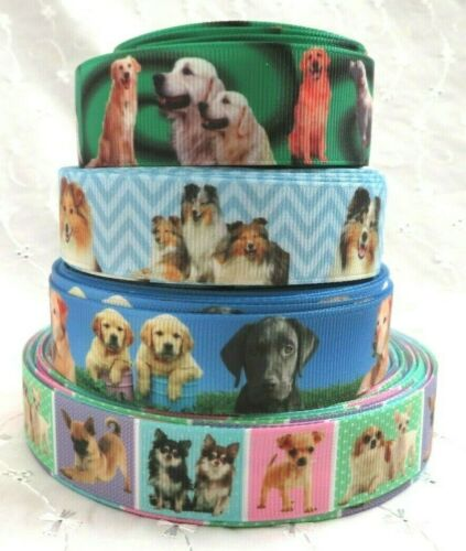1m FABULOUS LABRADORS COLLIES SMALL BREED DOGS GROSGRAIN RIBBON 22//25mm