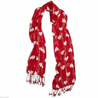 Valentine's Day Heart Scarf Multi Purpose Wrap Red And White Print