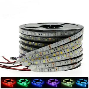 DC12V-1M-5M-SMD-5050-RGB-white-Waterproof-300-LED-Flexible-3M-Tape-Strip-Light