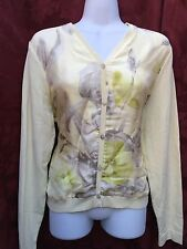 L'vian Burlingame Silk Cardigan Pale Yellow Floral Watercolor Sz M EUC