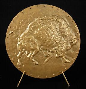 Medaglia-Abram-Krol-Artista-Animale-Bisonte-Sterling-Art-Francese-72-mm-Medal
