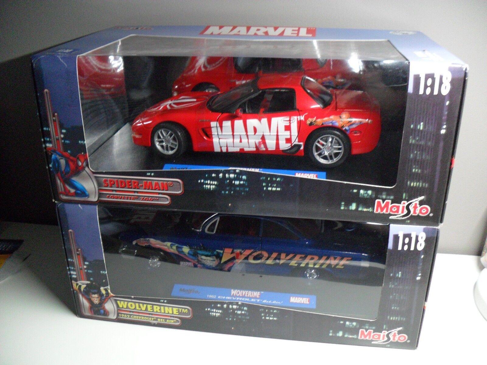 NEW Lot 2 Maisto 1 18 cars Marvel Spiderman CORVETTE + Wolverine CHEVROLET