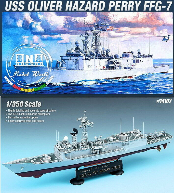 Academy Model kit 1 350 USS Oliver Hazard Perry FFG-7 -US Guided Missile Frigate