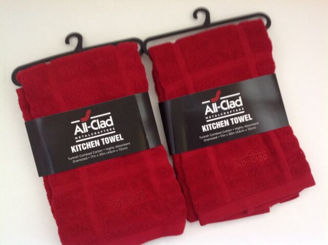 New Alll Clad High Quality Turkish Cotton Set of Two Kitchen Towels Red  Chili