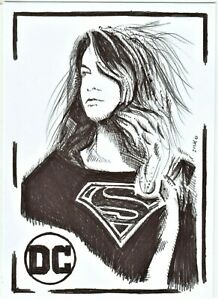 ACEO-Art-Sketch-Card-DC-Melissa-Benoist-as-Supegirl-from-TV-Series-ink-Drawing