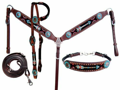 Showman BEADED ARROW Leather Bridle Breast Collar Wither Strap Contest Reins Set