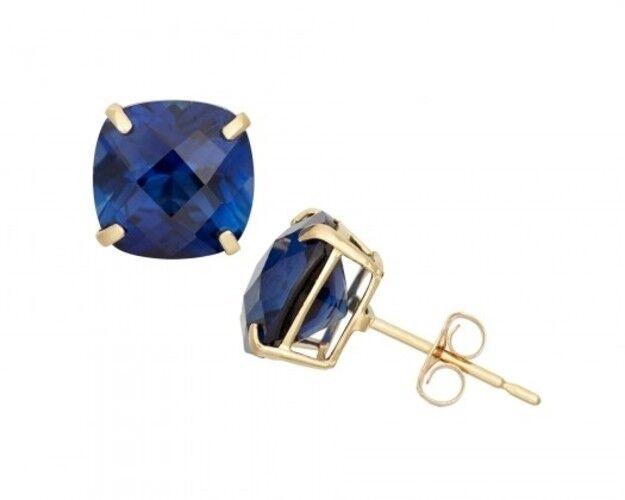 2 ctw Diamond Cut Blue Sapphire Round Princess Cut Stud Sterling Silver Earrings
