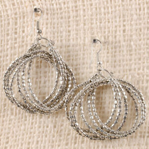 Circular-Maze-Dressy-Silver-Beaded-Metallic-Drop-Wire-Earring