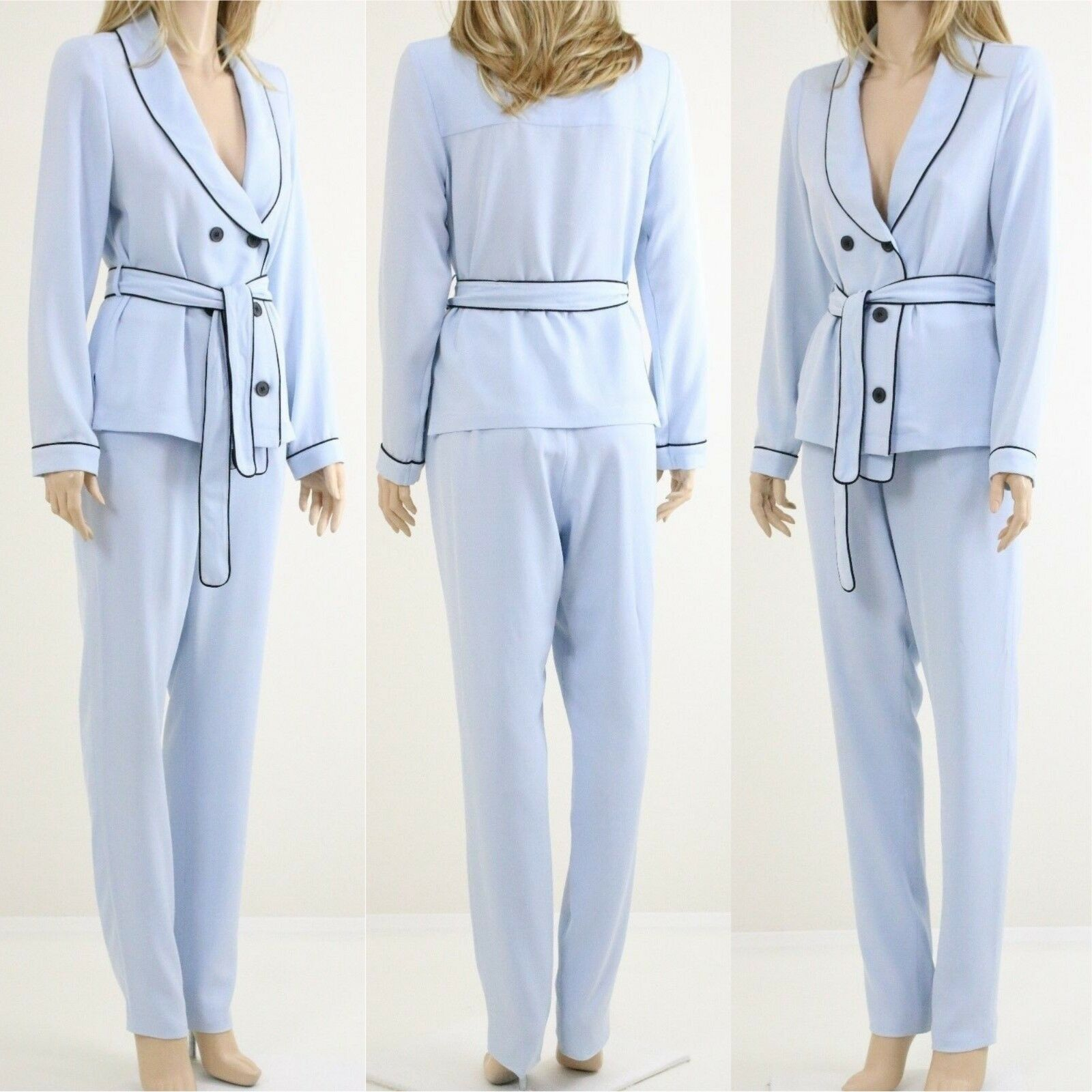 Lavish Alice Blau Pyjama Stil Double Breasted Tie Belt Hemd Slim W Trousers