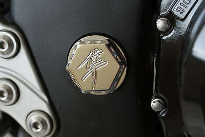 99 07 Hayabusa Tail Lock Cap Black Silver Engraved Ball Cut Rear Latch Cover