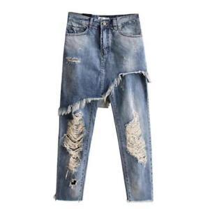 Nueva Moda Para Mujer Pantalones Jeans Rasgado Falda Vestido Denim Pantalones Informales De Novena Ebay