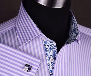 Lilac-Herringbone-Stripe-Formal-Business-Dress-Shirt-White-Paisley-or-Money-Boss