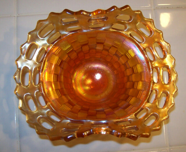 Peach Opalescent Marigold Fenton ? Basket Weave Candy Carnival glass Dish Bowl
