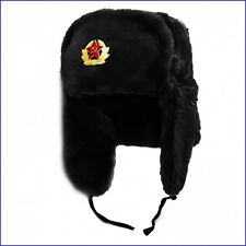 Mens Russian Trapper Hat Soviet Badge Faux Fur Ushanka Cossack Flaps Black