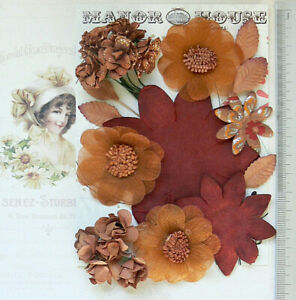 UMBER-amp-RUST-BROWNS-Mix-16-Paper-amp-Silk-Flowers-5-Leaves-7Styles-20-85mm-VD5