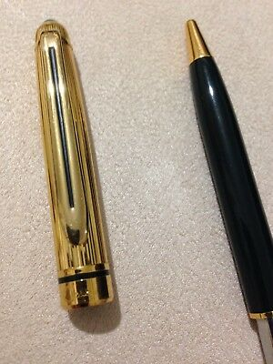 VINTAGE COLIBRI OF LONDON GOLD PLATED BARLEYCORN GOLD TRIM BALLPOINT PEN-SUPERB.