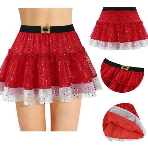 Femmes Fille Rock paillettes paillettes minijupe Noël Patinage les jupes courtes