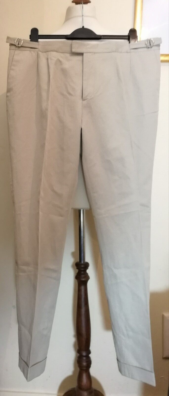 The kooples Tailored Pleated Dress Pants Turn-up Trouser Beige Size 38