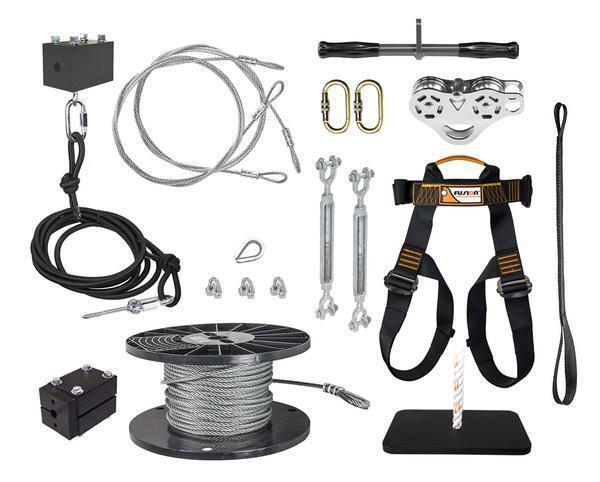 Nytt blixtlås 250 'Ultimate Torped Zip Line Kit med Trolley Stainless Steel