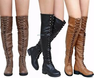 8170e88c5def New Women Rme Black Tan Taupe Combat Military Over Knee Lace Up ...