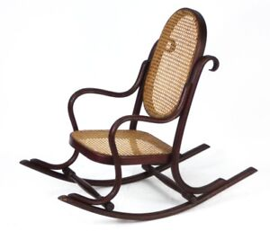 Art-Deco-Bentwood-Small-Rocking-Chair-with-Cane-Seat-Free-Shipping-PL1055