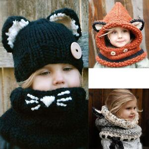 2b4ac25b1a3 Winter Beanie Baby Child Animal Warm Fox Hat Hooded Scarf Earflap ...