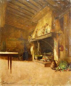 Carl Haag (1820-1915) Les Cuisines Du Château Allemagne Saxe-cobourg Gotha