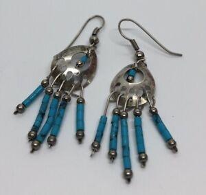 Vintage-Sterling-Silver-Earrings-925-Faux-Turquoise-Bear-Claw-Drop-Dangle