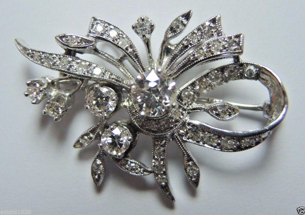 Antique Vintage Deco Diamond Brooch 14K White gold EGL USA 1.36CT E-F SI1-SI2