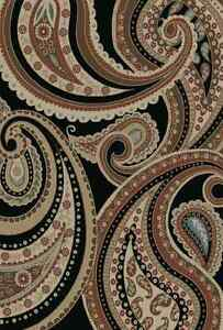 Image Is Loading 8X10 Area Rug Deco Paisley Black Beige Blue