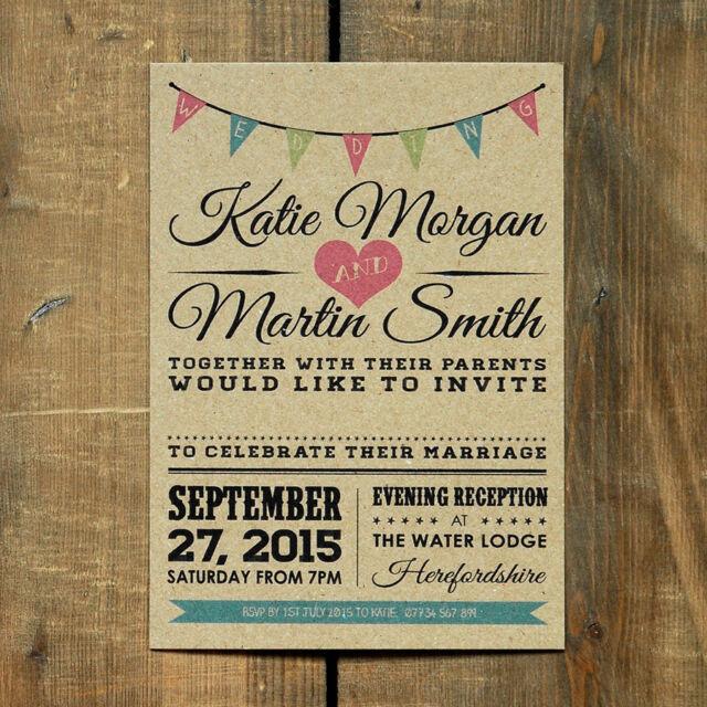 Vintage Bunting Kraft Wedding Invitation Set Wedding invite Rustic Save the date