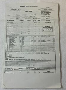 ONE TREE HILL set used CALL SHEET plus 12 pages of sides ~ Season 1, Episode 12