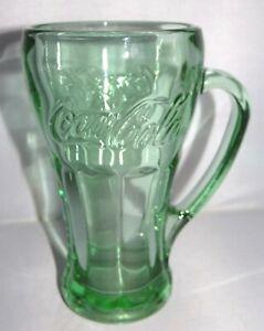 Green Tinted Coke Coca Cola 14oz Heavy Glass Mug With Handle Ebay